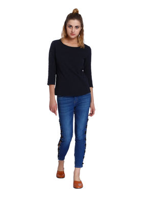 Dark Blue Lace Insert Sleeves T-Shirt
