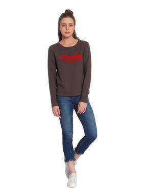 Olive Text Print Sweatshirt