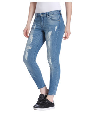 Blue Distressed Ankle Length Skinny Fit Jeans