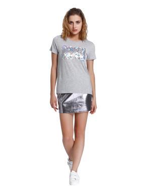 Light Grey Sequined T-Shirt