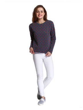 Blue and Red Polka Dot Sweater