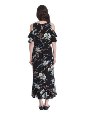 Black Cold Shoulder Floral Print Maxi Dress