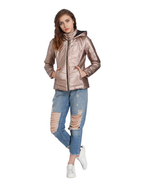 Metallic Beige Quilted Bomber Jacket