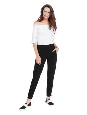 Black Pin Tuck Mid Rise Regular Fit Pants