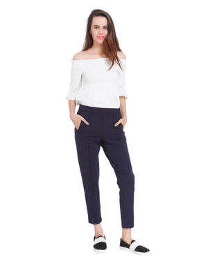 Dark Blue Pin Tucked Mid Rise Pants