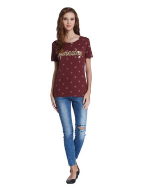 Red Star Print Sequined T-Shirt