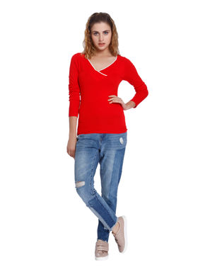 Bright Red V- Neck Slim Fit Pullover