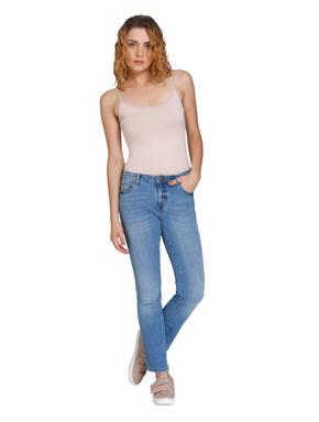 Light Blue Medium Rise Straight Fit Jeans