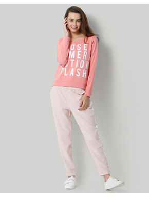 Pink Text Print Pullover