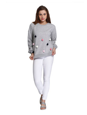 Light Grey Pom Pom Detail Sweatshirt