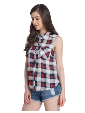 Red Check Sleeveless Shirt