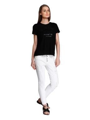 Black Shiny Text Print Boxy T-Shirt