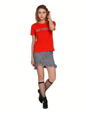 Bright Red Text Print T-Shirt