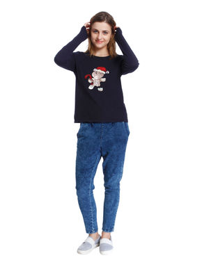 Dark Blue Gingerbread Man Sequined Sweatshirt
