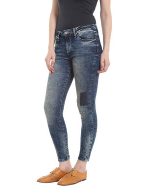 Dark Blue Patch Detail Skinny Jeans