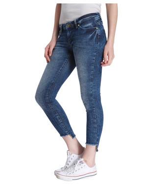 Dark Blue High Low Hem Skinny Cropped Jeans