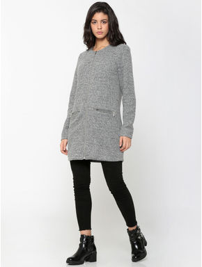 Grey Zip Up Long Jacket