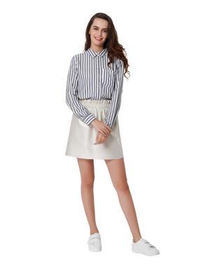 White & Grey Striped Shirt