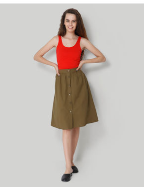 Olive Green High Waist Buttoned Midi Skirt