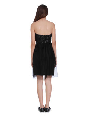Black Sequins and Mesh Detail Tube Shift Dress