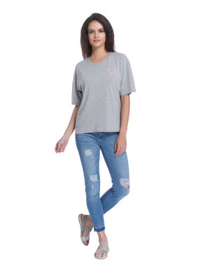 Light Grey Slogan Print Relaxed Fit T-Shirt