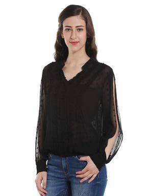 Black Slit Sleeves Top