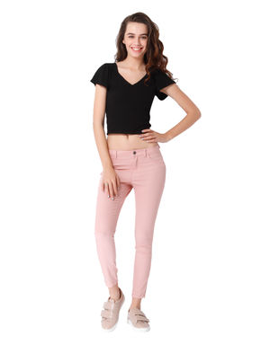 Pink Mid Rise Skinny Fit Pants