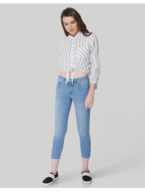 Light Blue Mid Rise Skinny Fit Ankle Zip Jeans