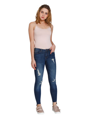 Blue Destroyed Medium Rise Skinny Fit Jeans
