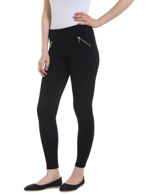 Zip Detail Black Leggings