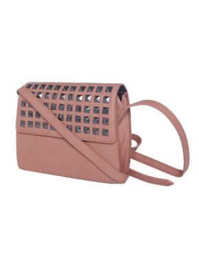 Nude Studded Crossbody Bag