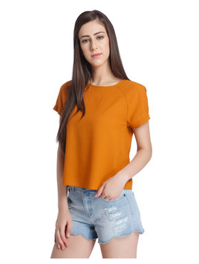 Rust Bow Back Detail Top