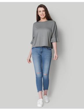 Grey Flared Sleeves Top