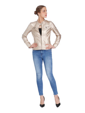 Metallic Gold PU Biker Jacket