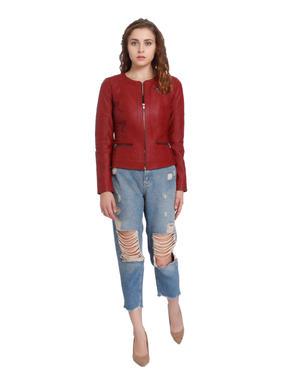 Red Faux Leather Biker Jacket