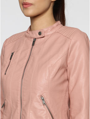 Rose Front Zip Up Biker Jacket