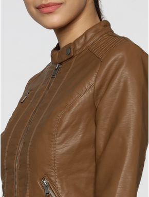 Brown Front Zip Up Biker Jacket