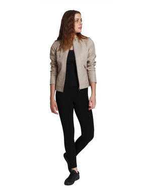 Taupe Faux Leather Biker Jacket