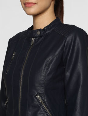 Blue Front Zip Up Biker Jacket