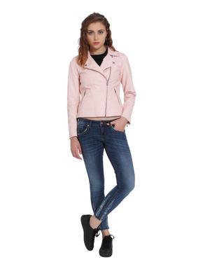 Light Pink Faux Leather Biker Jacket