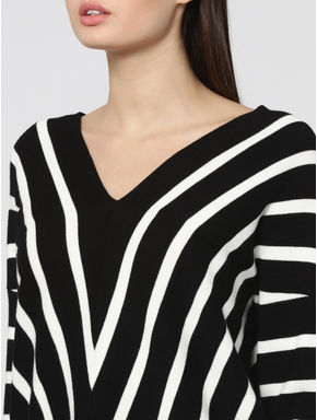 Black Striped V-Neck Pullover