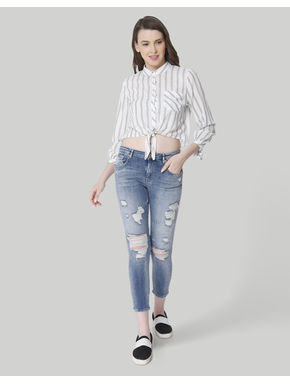 Blue Mid Rise Regular Fit Distressed Jeans