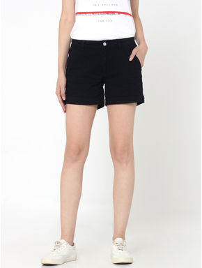 Black Mid Rise Slim Fit Shorts