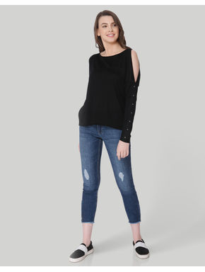 Black Studded Cold Shoulder Pullover