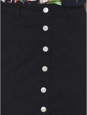 Black Button Down Mid Rise Slim Fit Denim Skirt