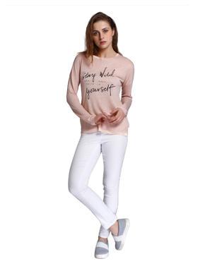 Peach Slogan Print T-Shirt