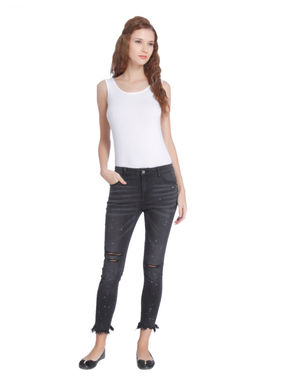 Grey Mid Rise Ripped Fringe Ankle Length Skinny Jeans