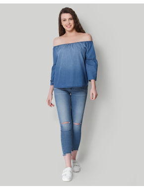 Blue Denim Off Shoulder Top