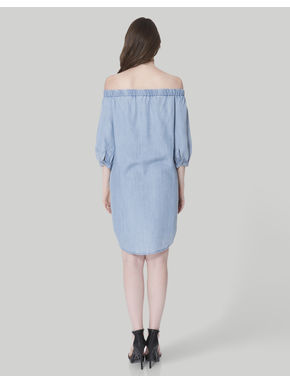Light Blue Off Shoulder Denim Shift Dress