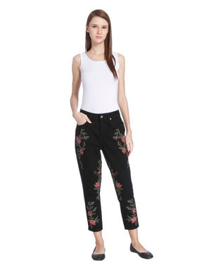 Black Floral Embroidered Slim Jeans